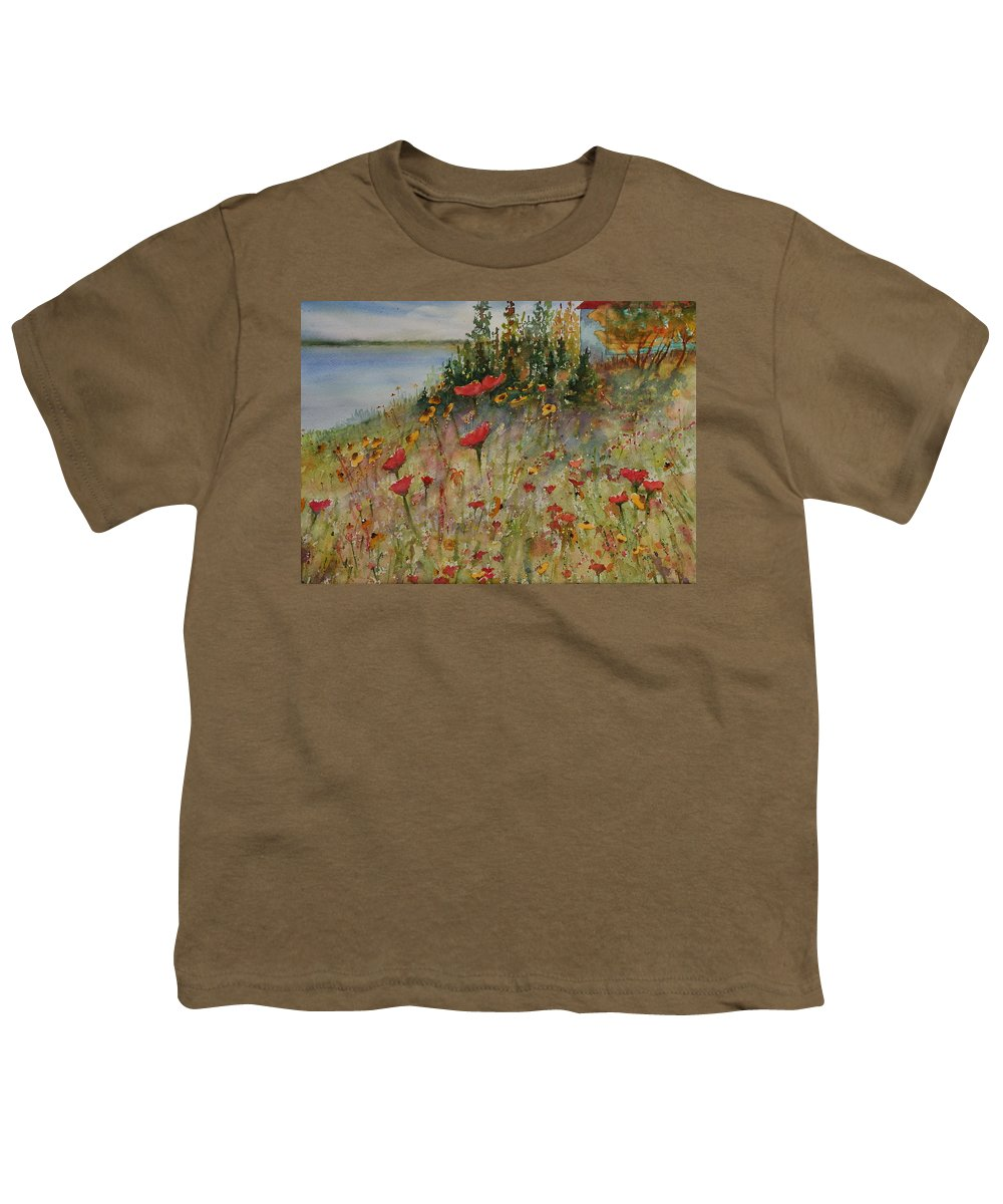 Nature Youth T-Shirt featuring the painting Wendy's Wildflowers by Ruth Kamenev
