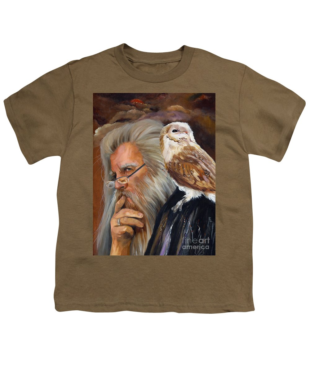 Wizard Youth T-Shirt featuring the painting What If... by J W Baker