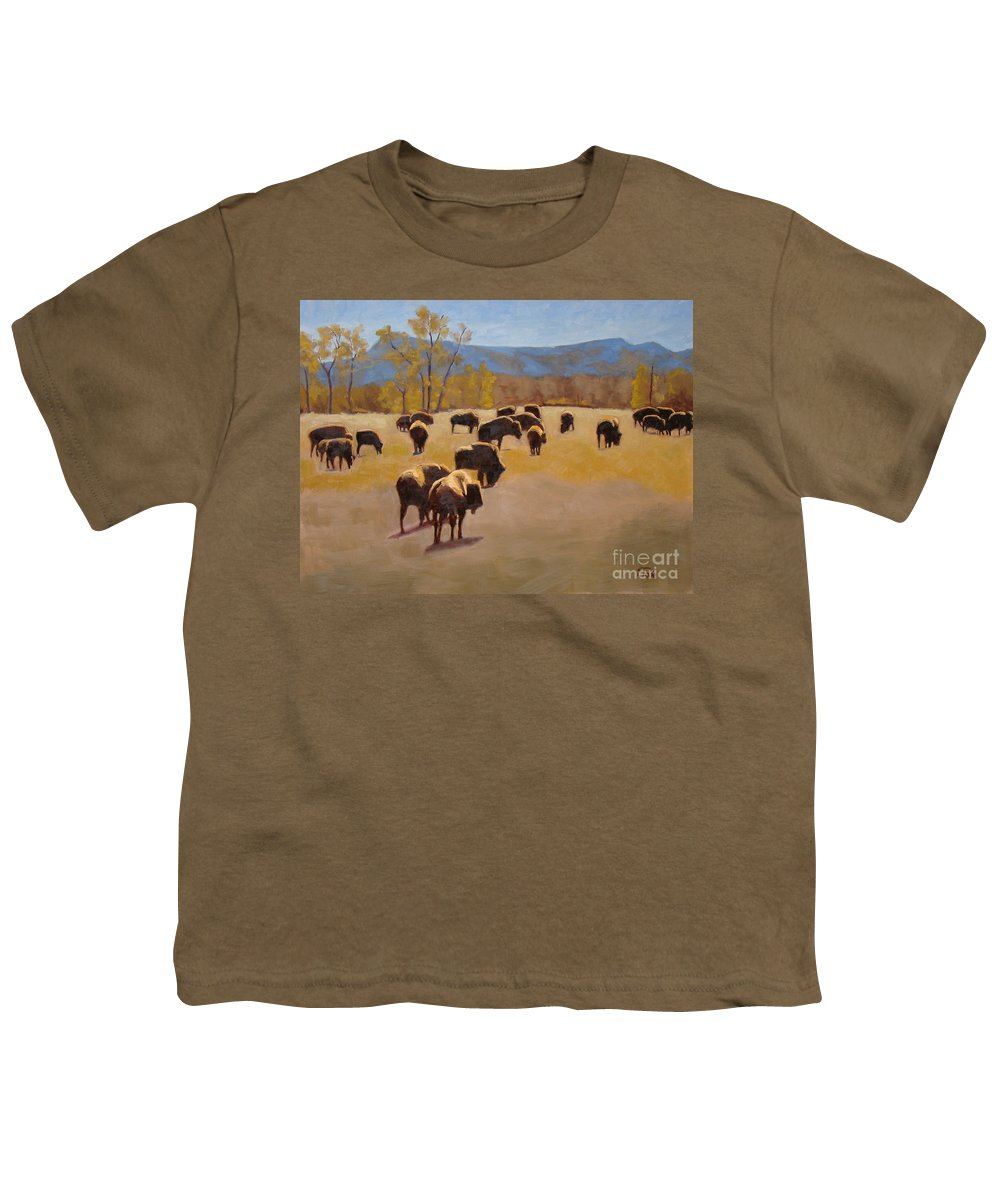 Buffalo Youth T-Shirt featuring the painting Where The Buffalo Roam by Tate Hamilton
