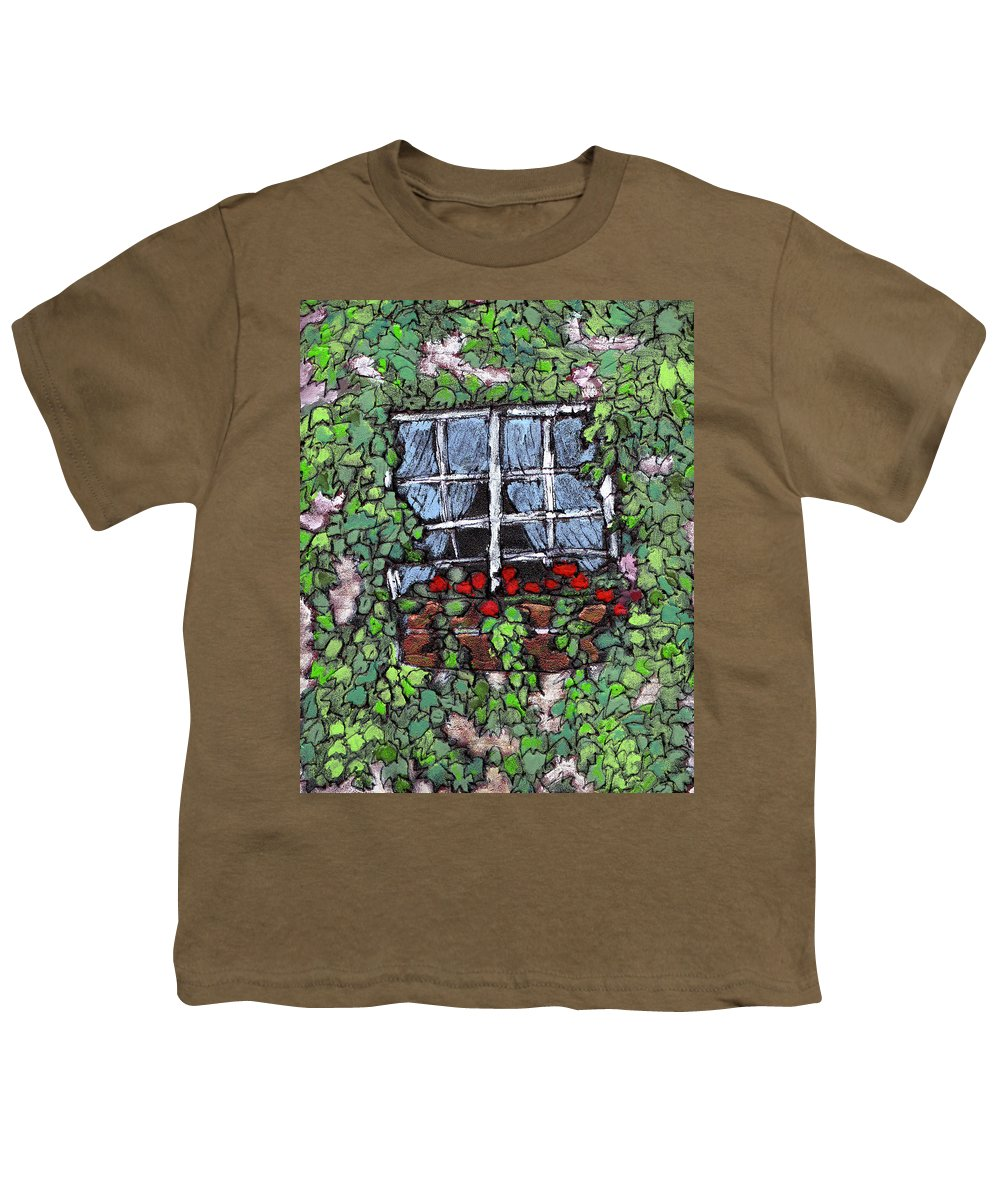Flowers Youth T-Shirt featuring the painting Window Flower Box by Wayne Potrafka
