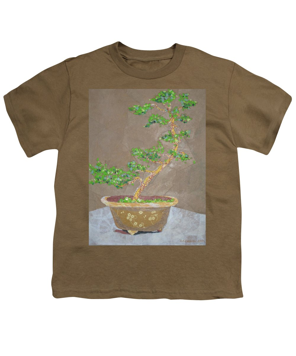 Banzai Tree Youth T-Shirt featuring the painting Windswept Juniper by Leah Tomaino