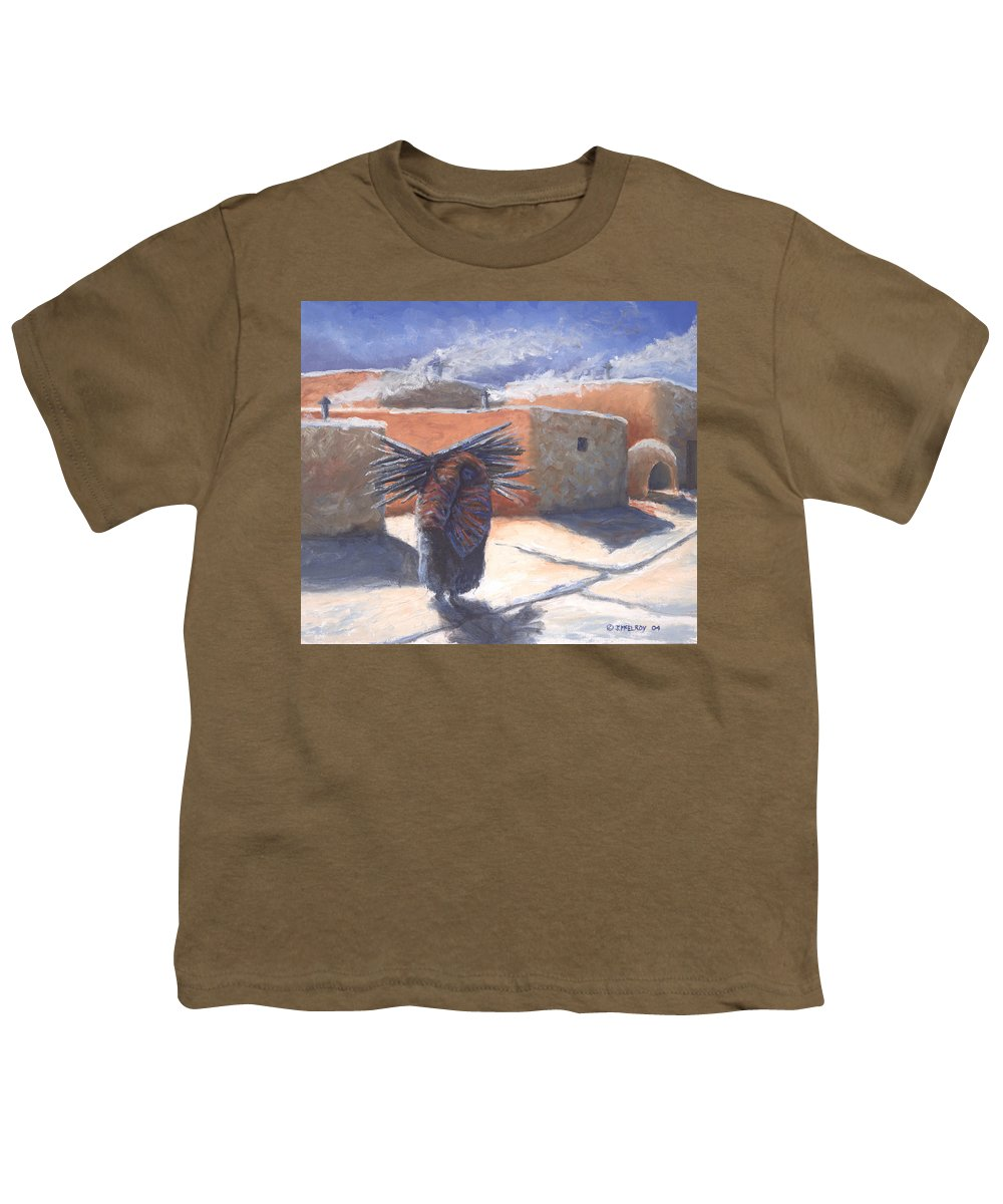 Adobe Youth T-Shirt featuring the painting Winter's Work by Jerry McElroy