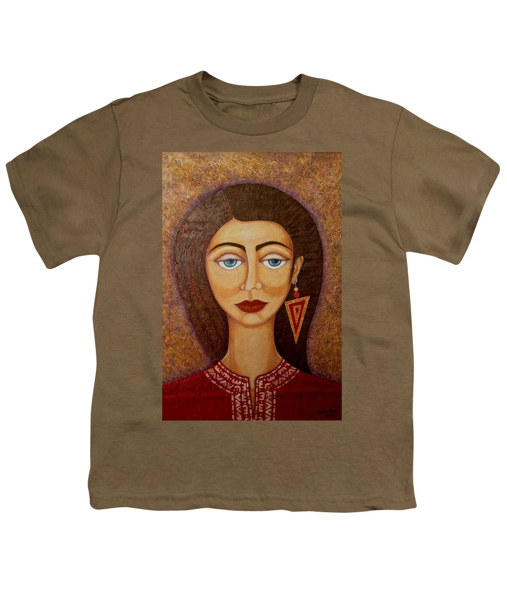 Market Youth T-Shirt featuring the painting Woman S Market by Madalena Lobao-Tello