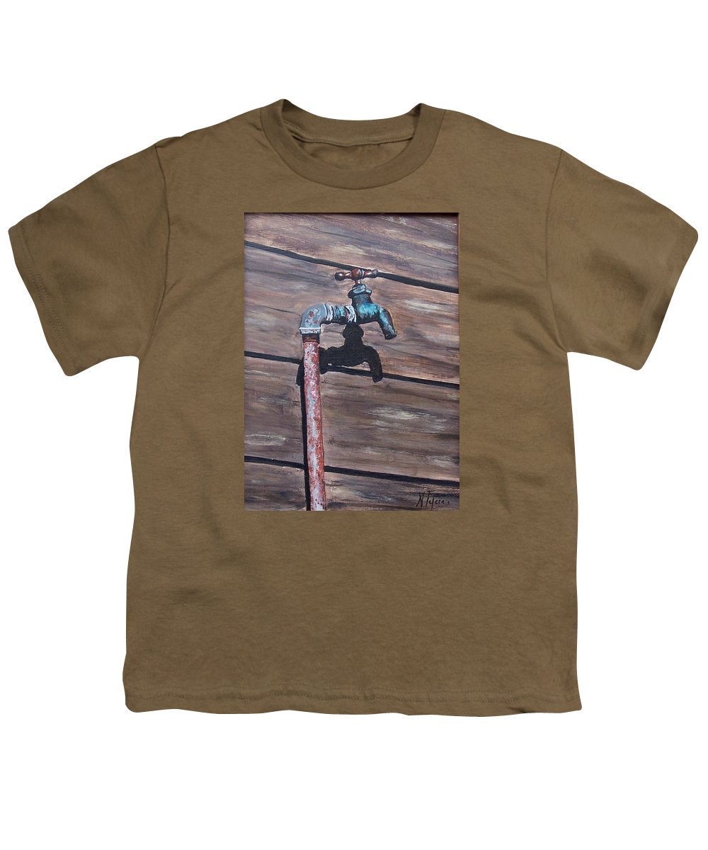 Still Life Metal Old Wood Youth T-Shirt featuring the painting Wood And Metal by Natalia Tejera
