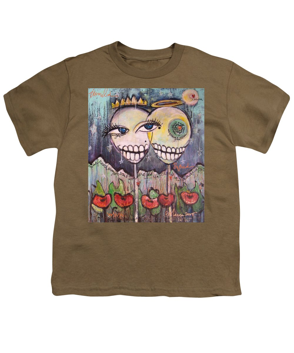 Skull Heads Youth T-Shirt featuring the painting Yo Soy La Luna by Laurie Maves ART