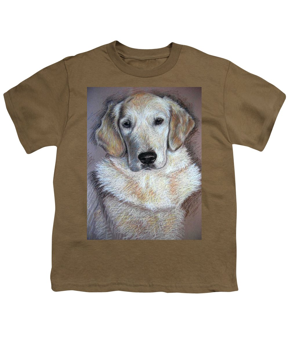 Dog Youth T-Shirt featuring the pastel Young Golden Retriever by Nicole Zeug