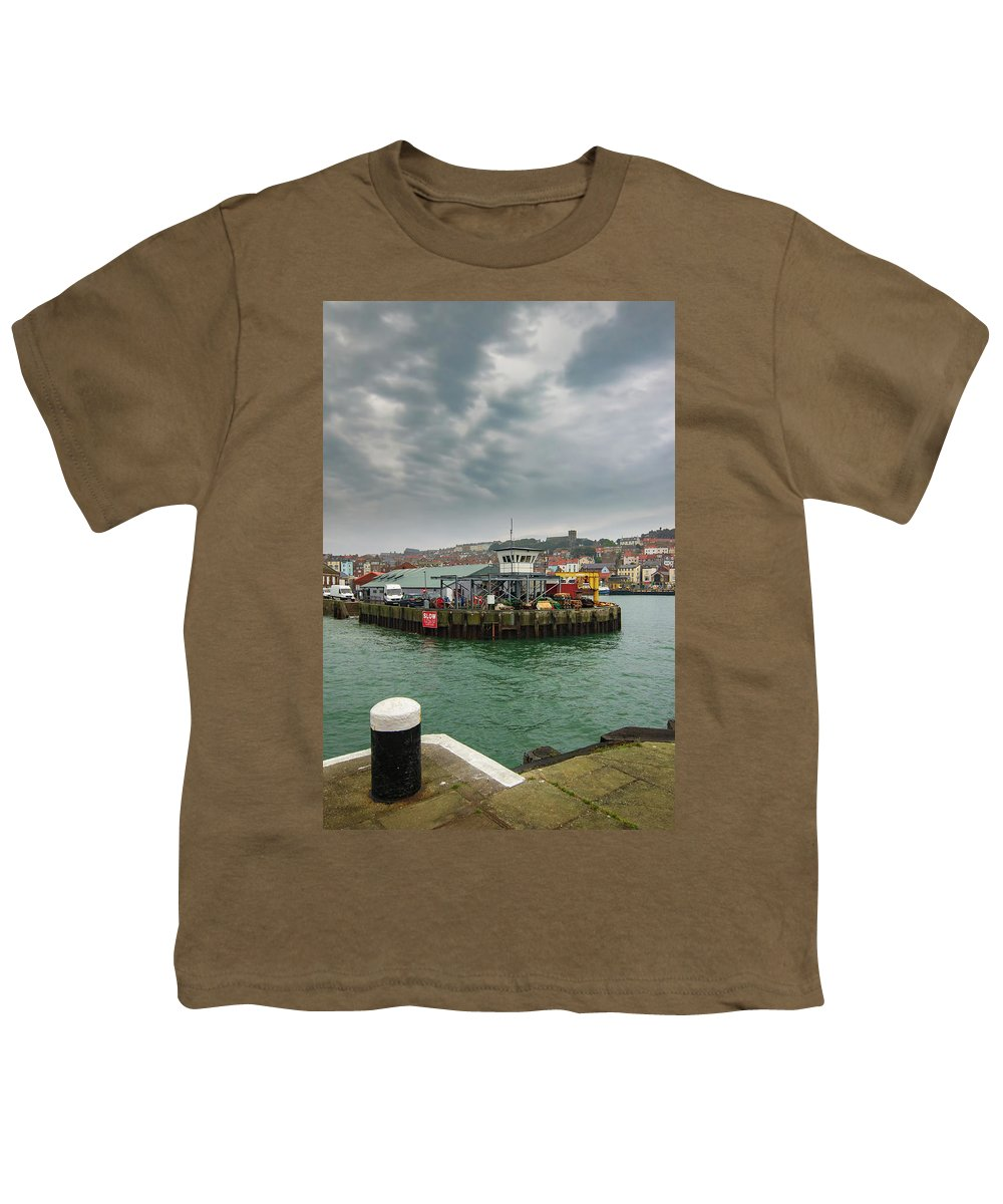 Scarborough Youth T-Shirt featuring the mixed media Scarborough Harbour 1 by Smart Aviation