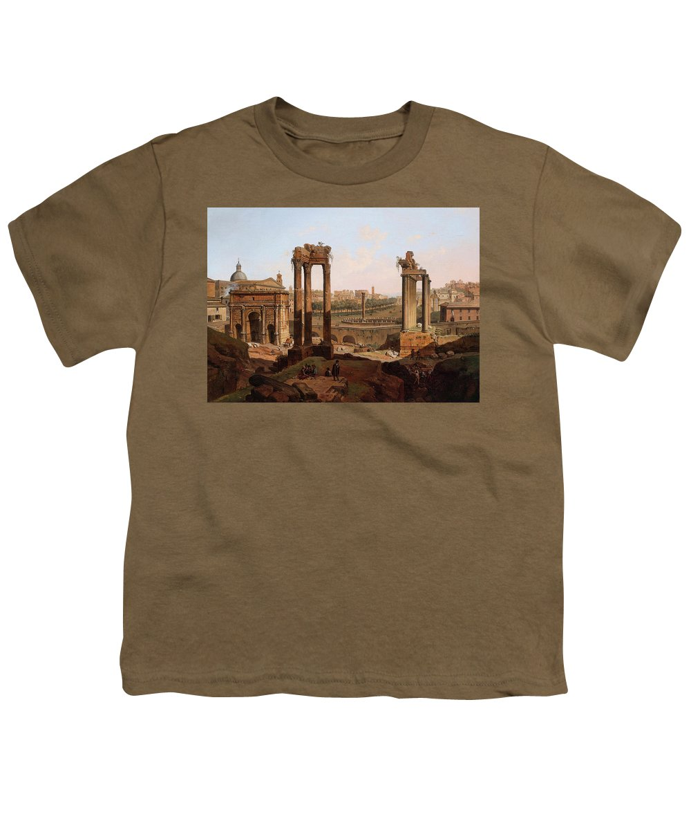 View Youth T-Shirt featuring the painting A View Of The Forum Romanum by Jean Victor Louis Faure
