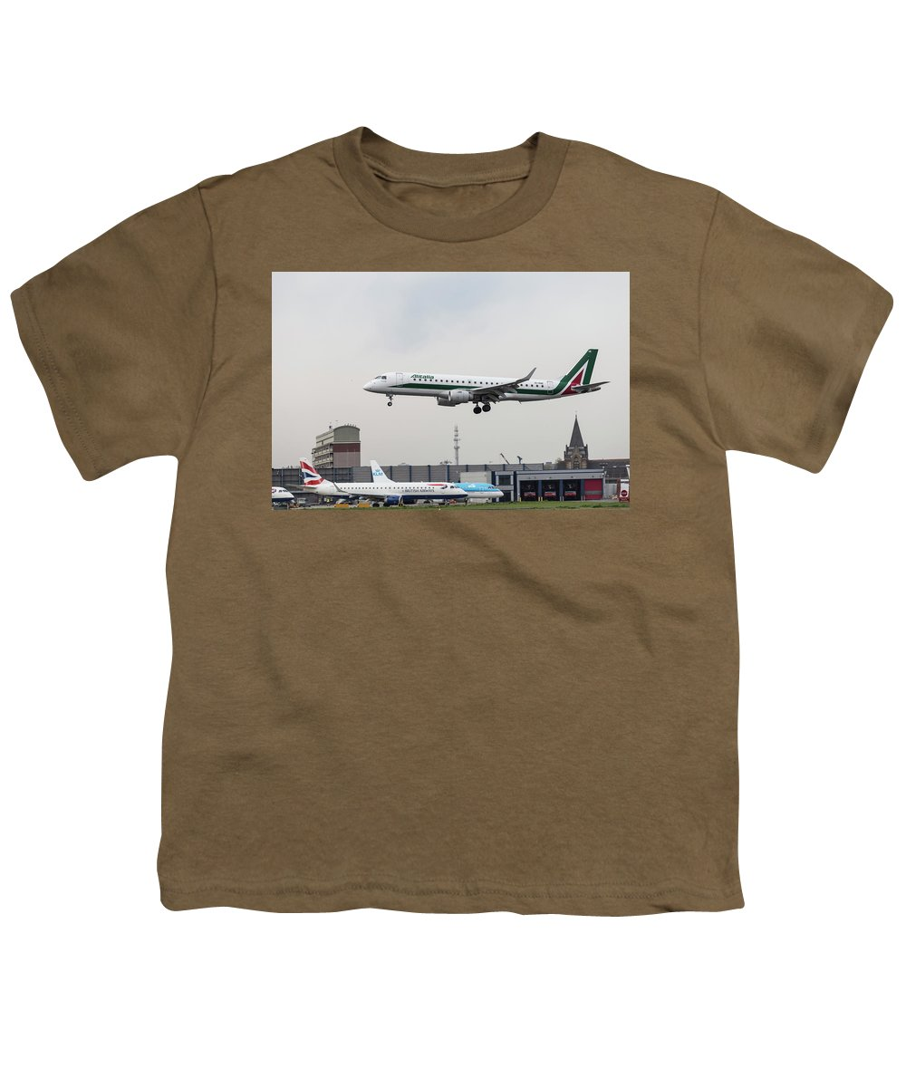 Bird Near Miss Youth T-Shirt featuring the photograph Alitalia Embraer 190 Bird Near Miss by David Pyatt