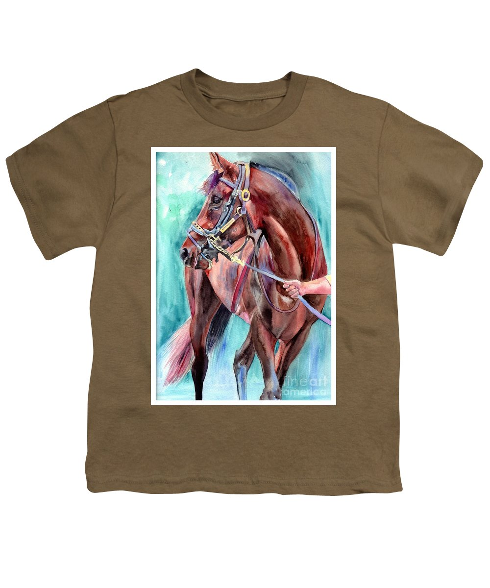 Watercolor Youth T-Shirt featuring the painting Classical Horse Portrait by Suzann Sines