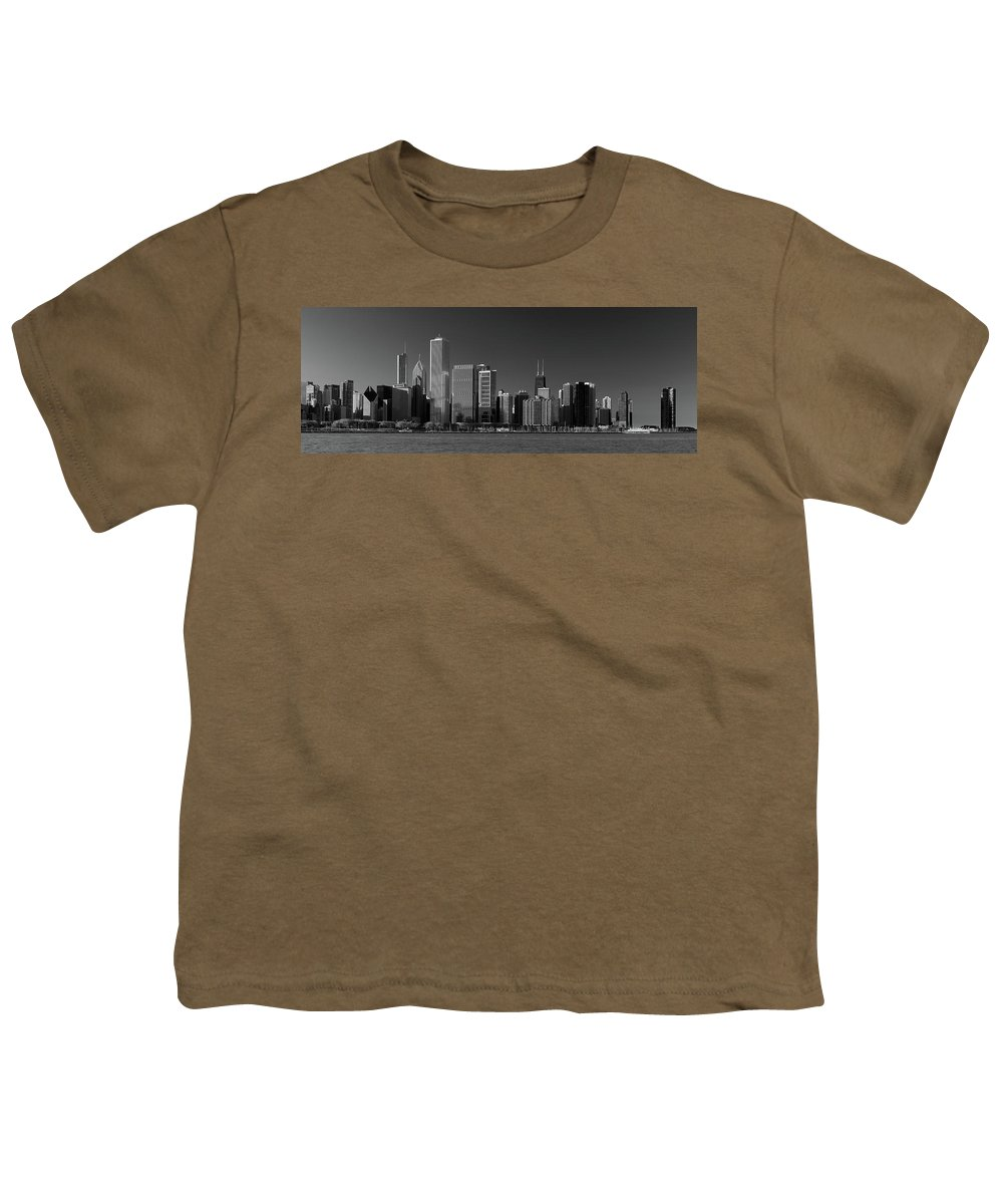 Chicago Youth T-Shirt featuring the photograph Lakefront Chicago B W by Steve Gadomski