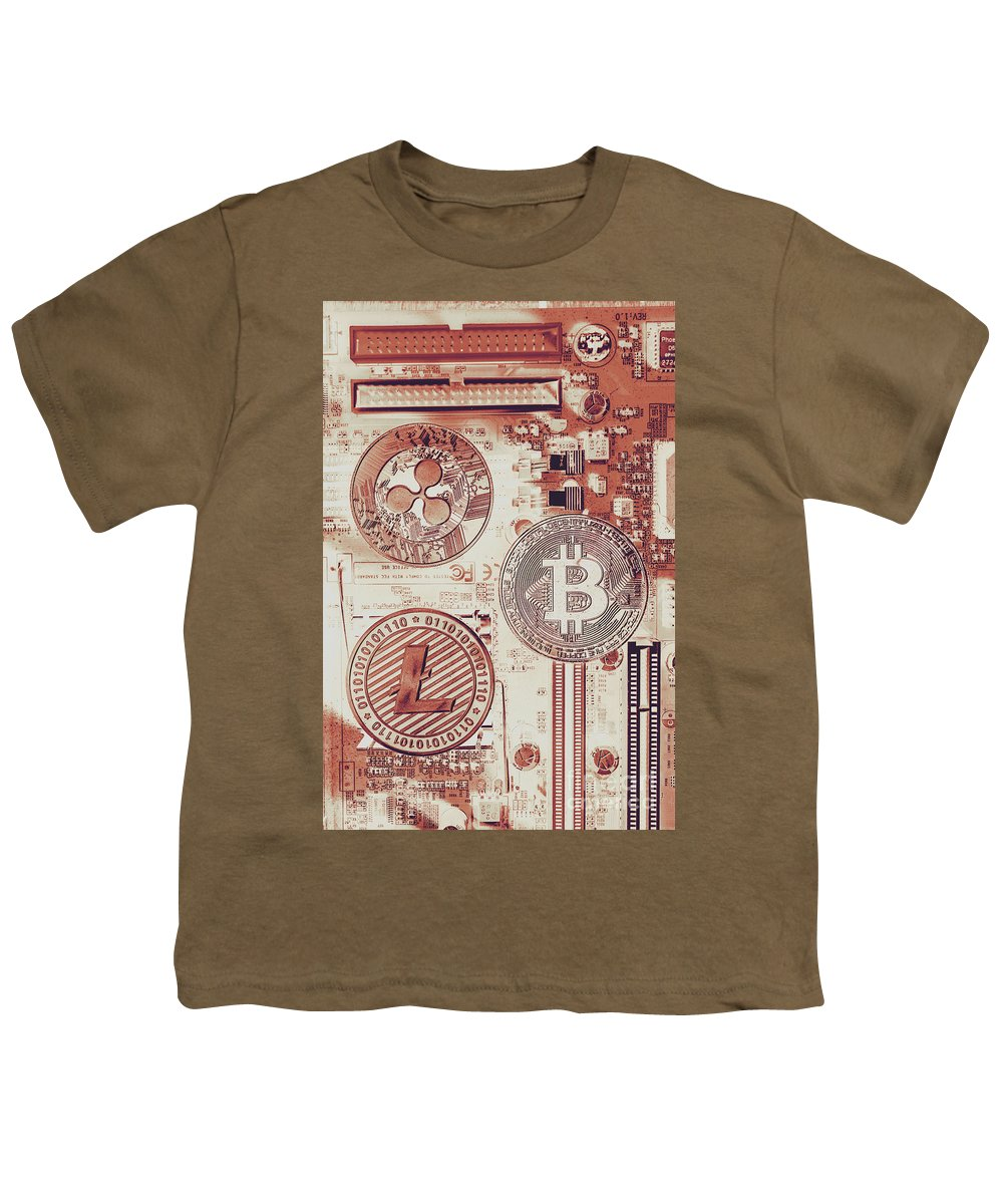 Technology Youth T-Shirt featuring the photograph Motherboard Money by Jorgo Photography - Wall Art Gallery