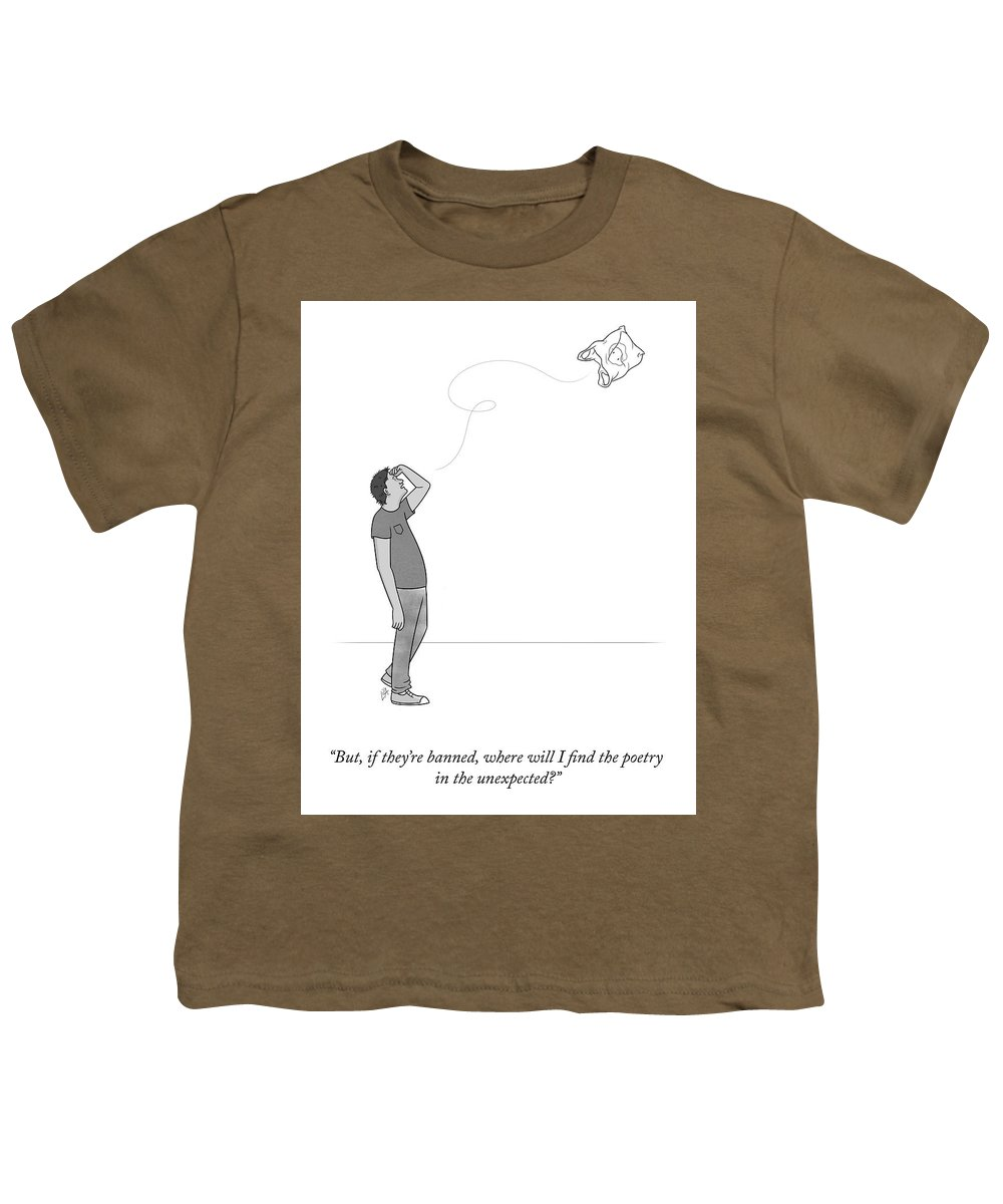 But Youth T-Shirt featuring the drawing Poetry In The Unexpected by Lila Ash
