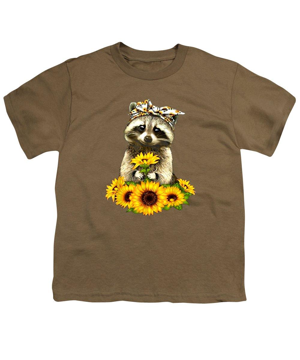 men's Novelty T-shirts Youth T-Shirt featuring the digital art Raccoon Bandana Funny Animal Tshirt Sunflowers Shirt by Do David