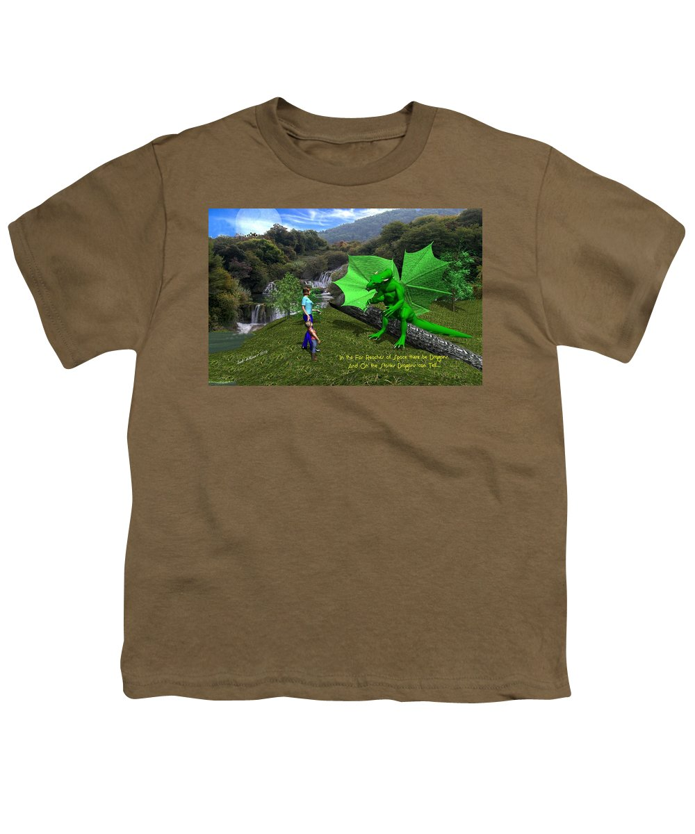 Youth T-Shirt featuring the digital art There Be Dragons by Bob Shimer