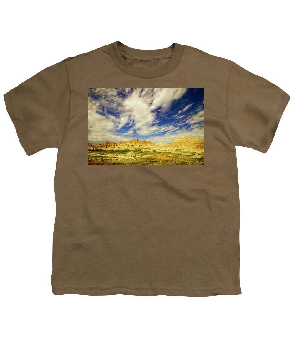 Badlands Youth T-Shirt featuring the photograph Badlands Showdown by Mike Braun