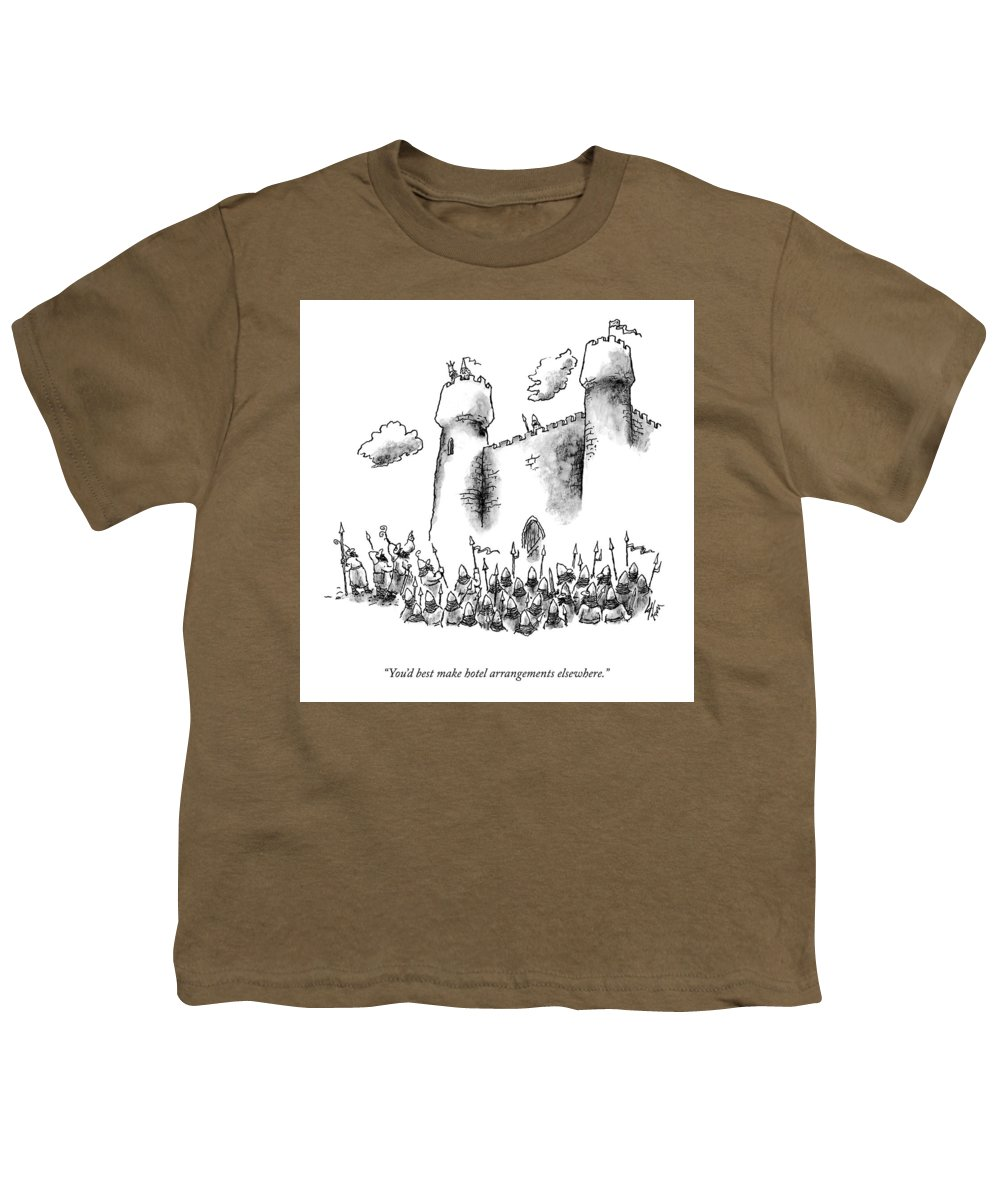 You'd Best Make Hotel Arrangements Elsewhere. Youth T-Shirt featuring the drawing Hotel Arrangements by Frank Cotham