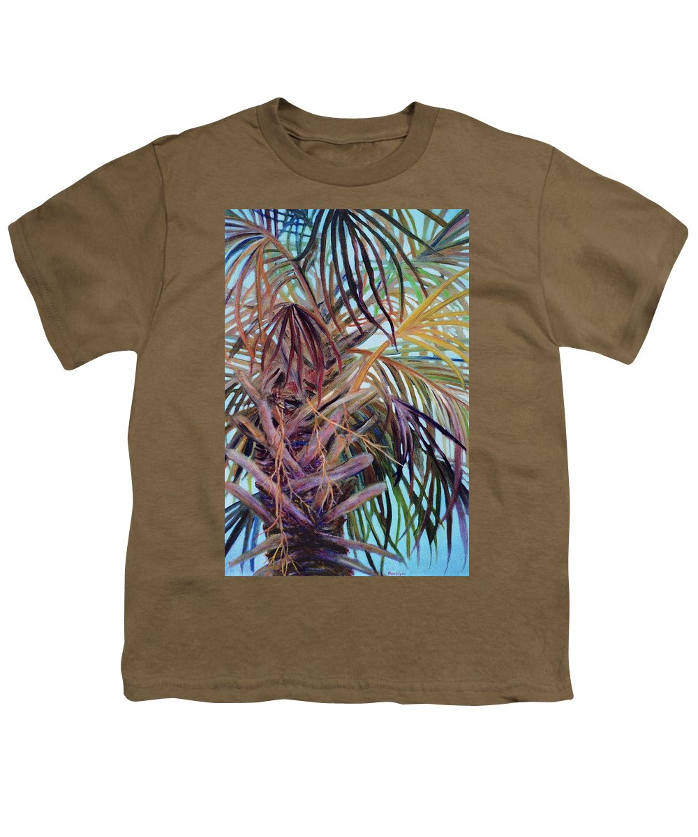 Palm Tree Youth T-Shirt featuring the painting The Palm by Ben Kiger
