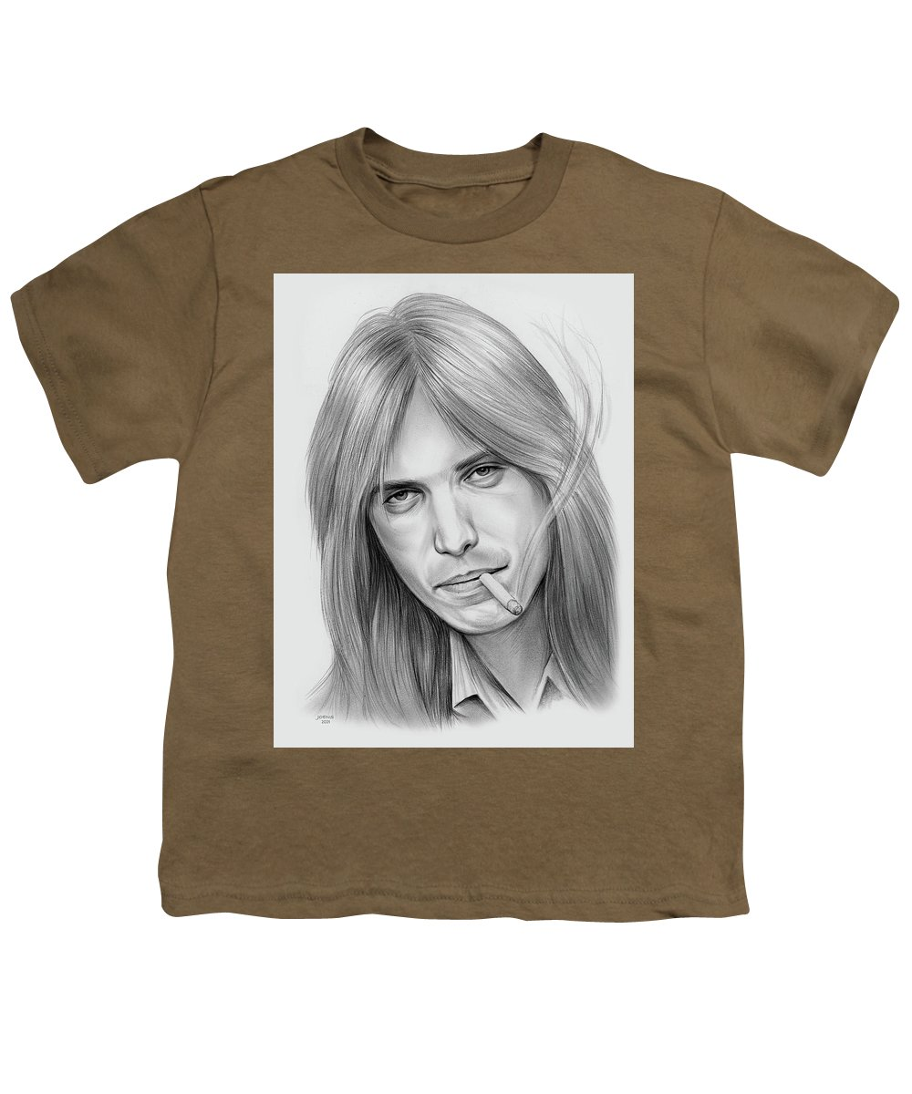 Tom Petty Youth T-Shirt featuring the drawing Tom Petty - Pencil by Greg Joens