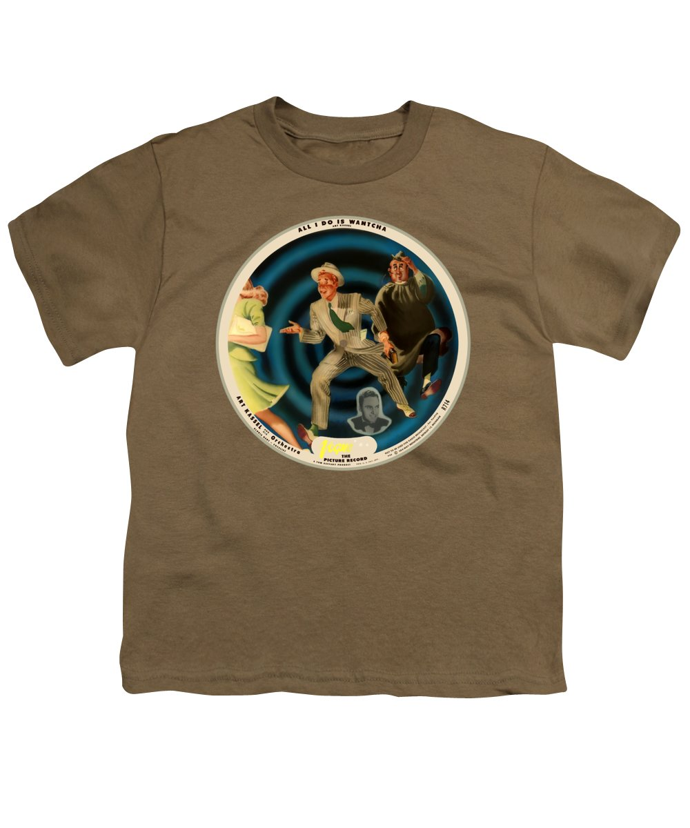 Vogue Picture Record Youth T-Shirt featuring the digital art Vogue Record Art - R 714 - P 22, Yellow Logo - Square Version by John Robert Beck