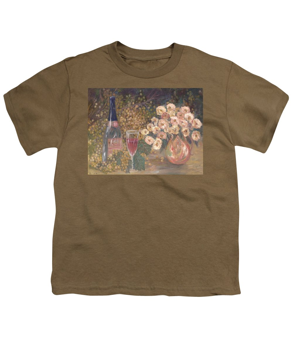 Stilllife; Floral; Wine Youth T-Shirt featuring the painting Wine And Roses by Ben Kiger