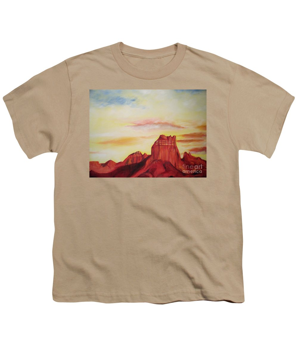 Western Youth T-Shirt featuring the painting Sedona Az by Eric Schiabor