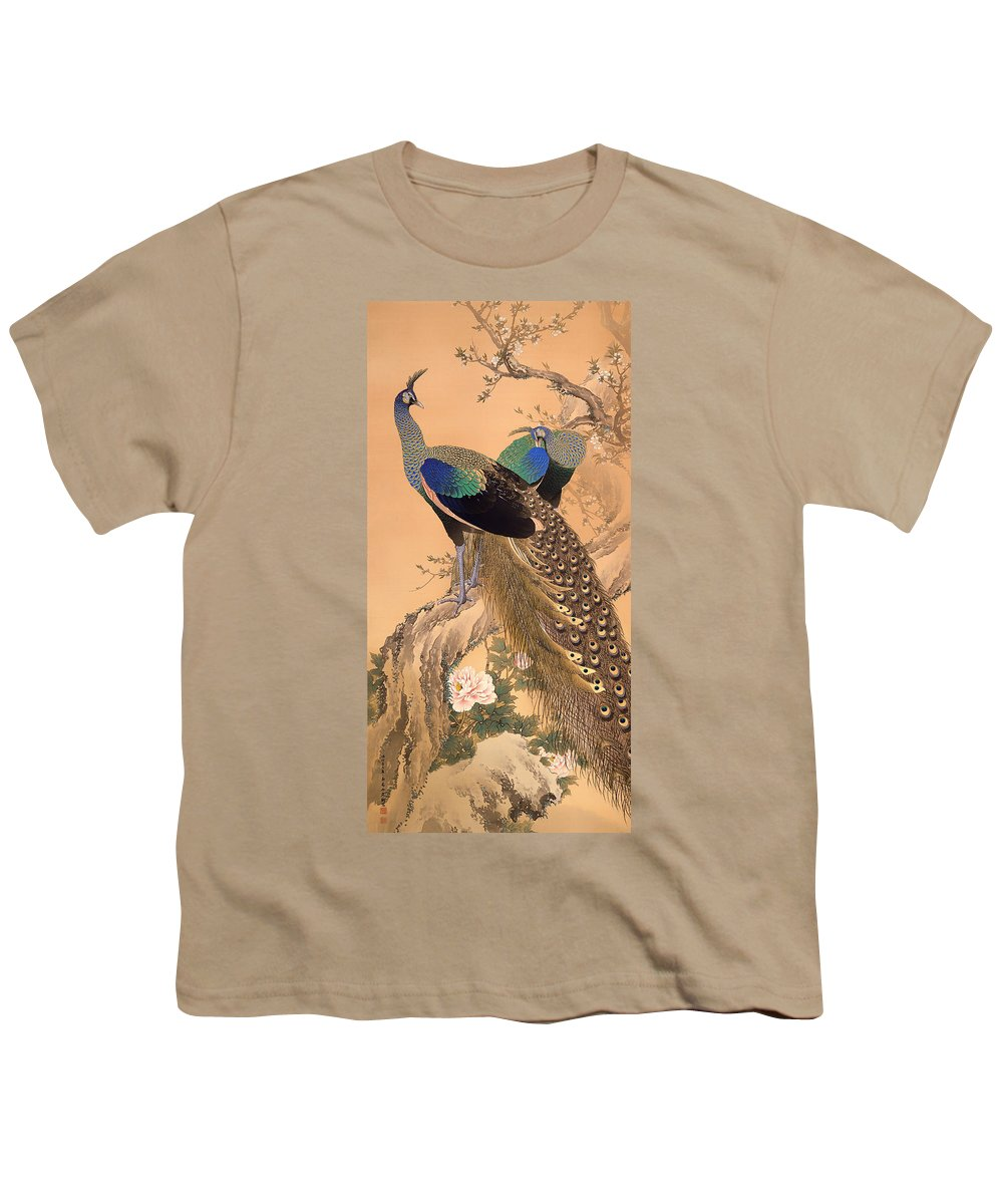Painting Youth T-Shirt featuring the painting A Pair Of Peacocks In Spring by Mountain Dreams