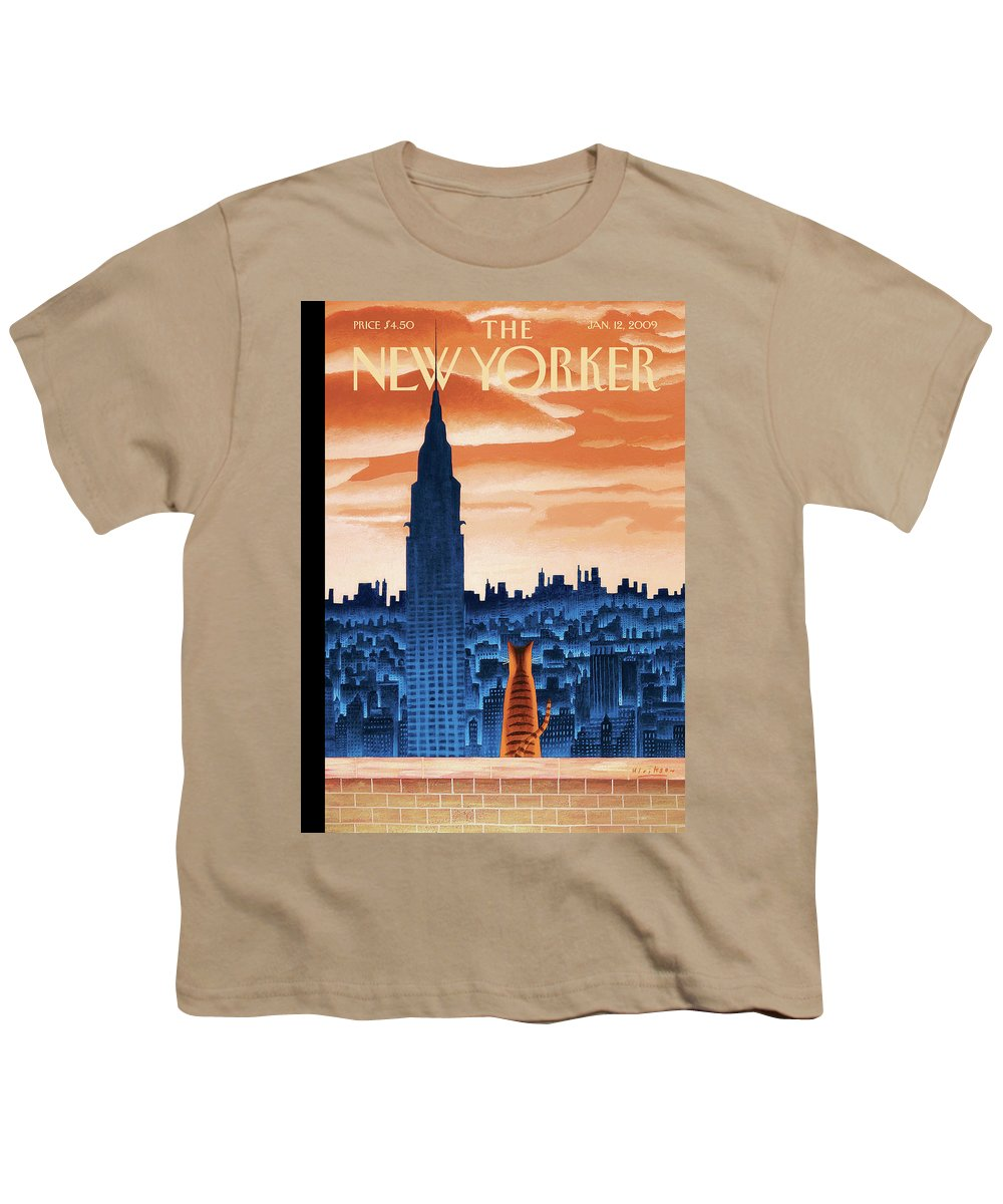 Nyc Youth T-Shirt featuring the painting New Yorker January 12th, 2009 by Mark Ulriksen