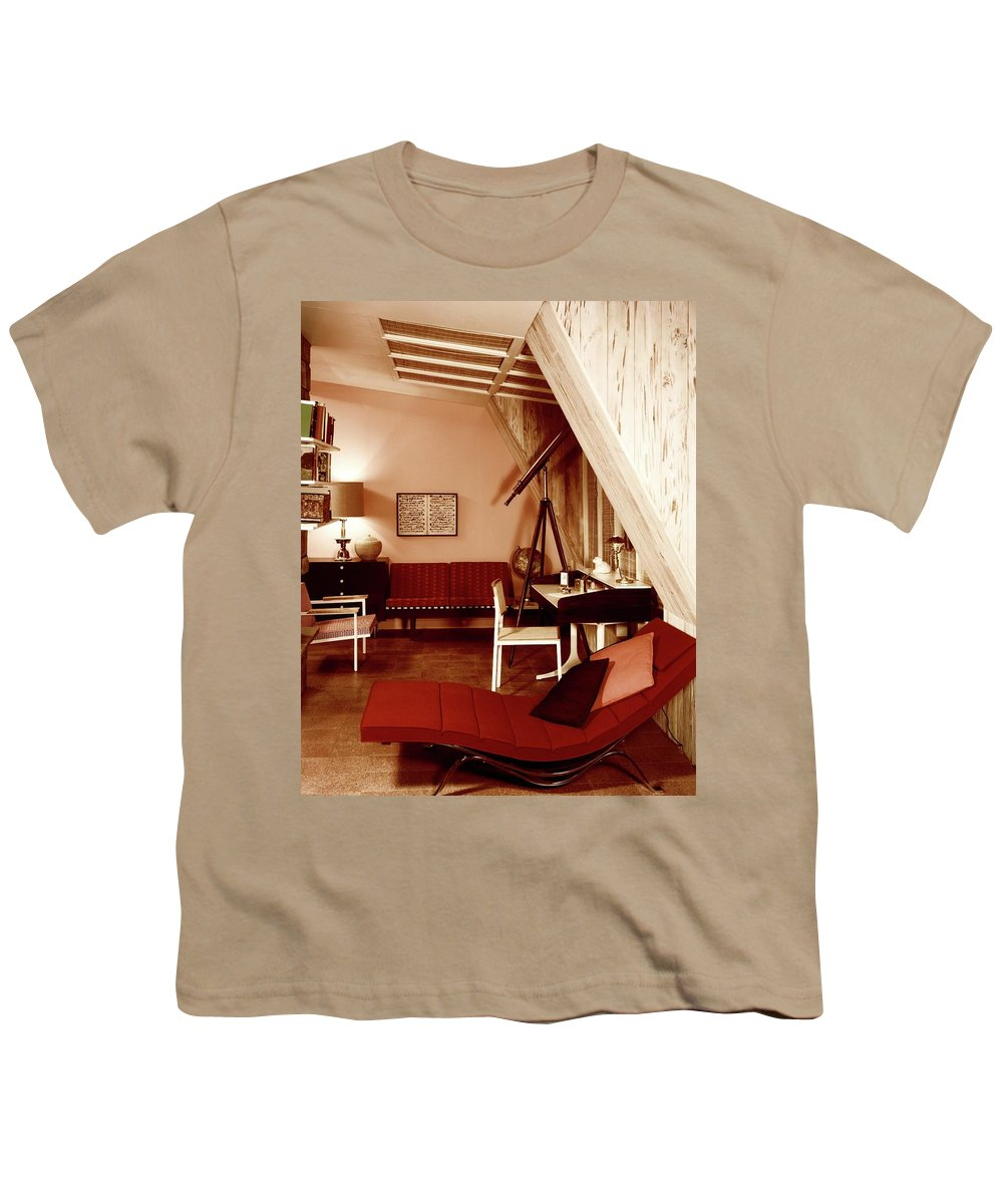 Indoors Youth T-Shirt featuring the photograph A Red Living Room by Haanel Cassidy