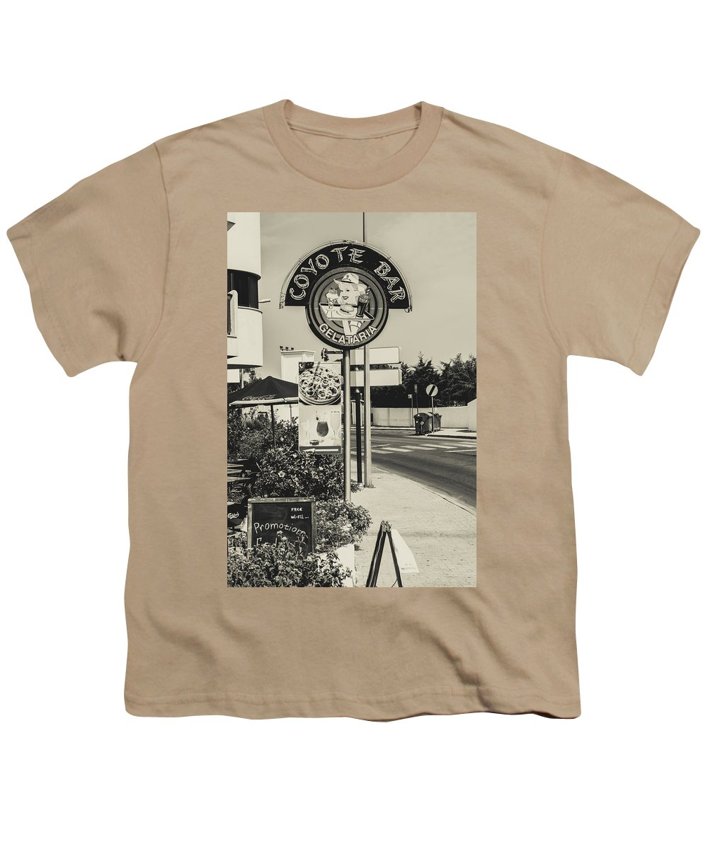 Street Youth T-Shirt featuring the photograph Albufeira Street Series - Coyote Bar I by Marco Oliveira