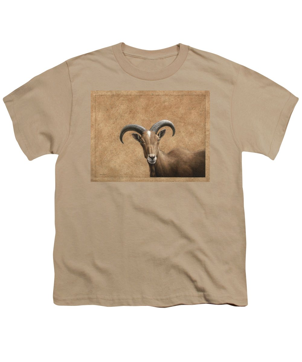 Barbary Ram Youth T-Shirt featuring the painting Barbary Ram by James W Johnson