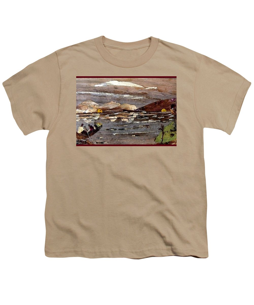Boating Scene Youth T-Shirt featuring the mixed media Boating In River by Basant Soni