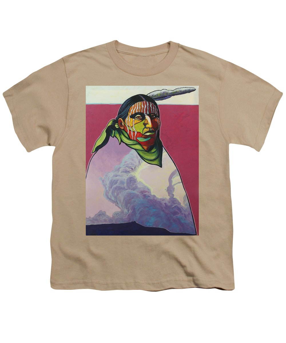Native American Indian Youth T-Shirt featuring the painting Body And Soul by Joe Triano