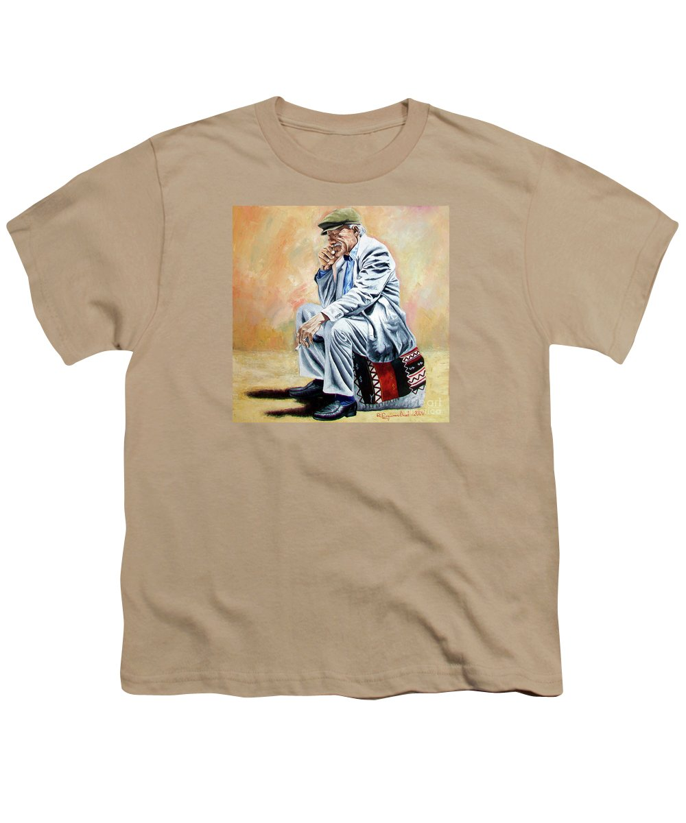 Figurative Youth T-Shirt featuring the painting Break For Smoking - Apeadero Para Fumar by Rezzan Erguvan-Onal