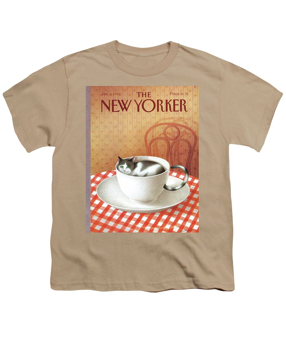 Cat Youth T-Shirt featuring the painting Cat Sits Inside A Coffee Cup by Gurbuz Dogan Eksioglu