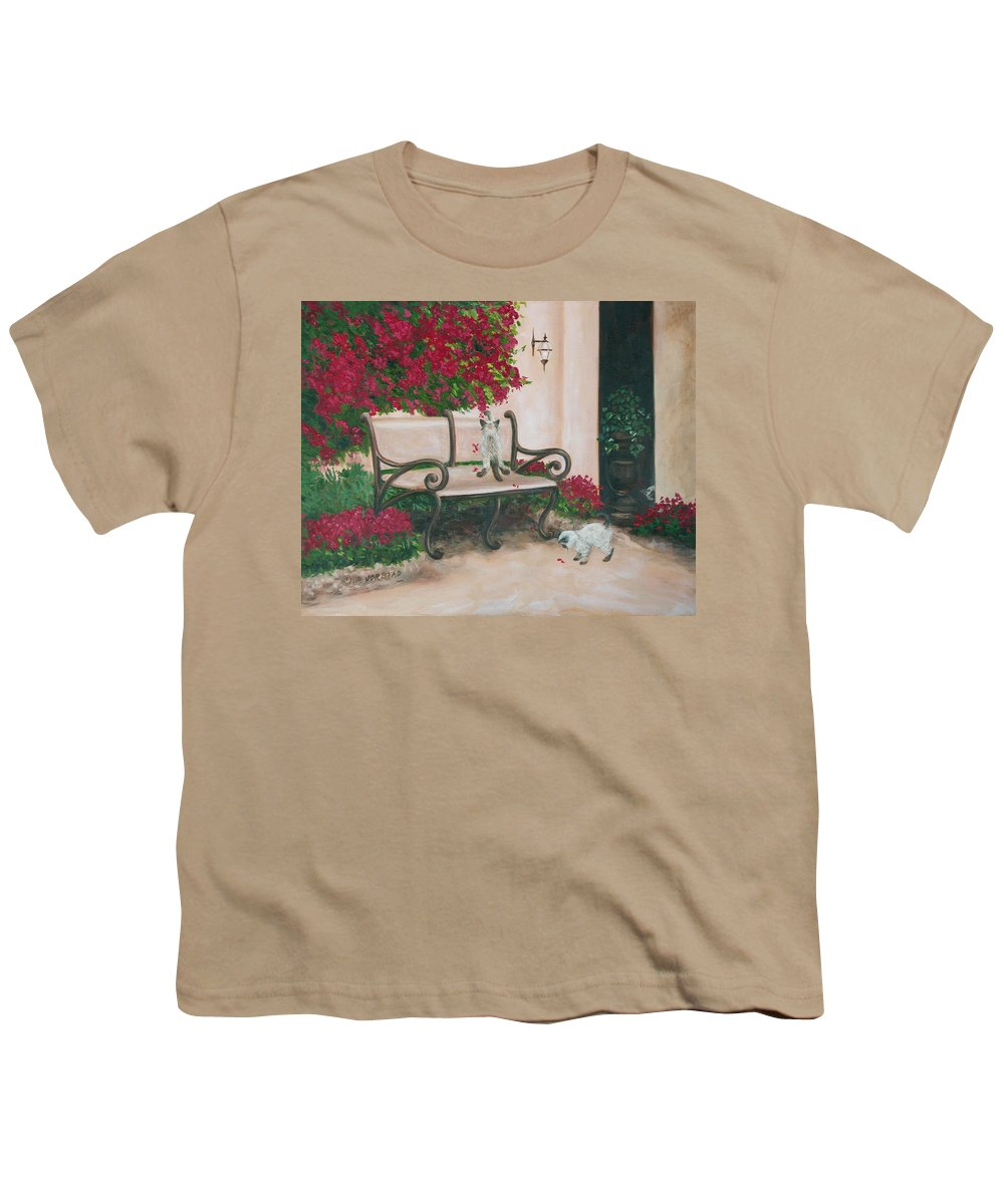 Cat Fine Art Youth T-Shirt featuring the painting Cat Art Print On Canvas Oil Painting Hire Commission Pet Portrait Artist by Diane Jorstad