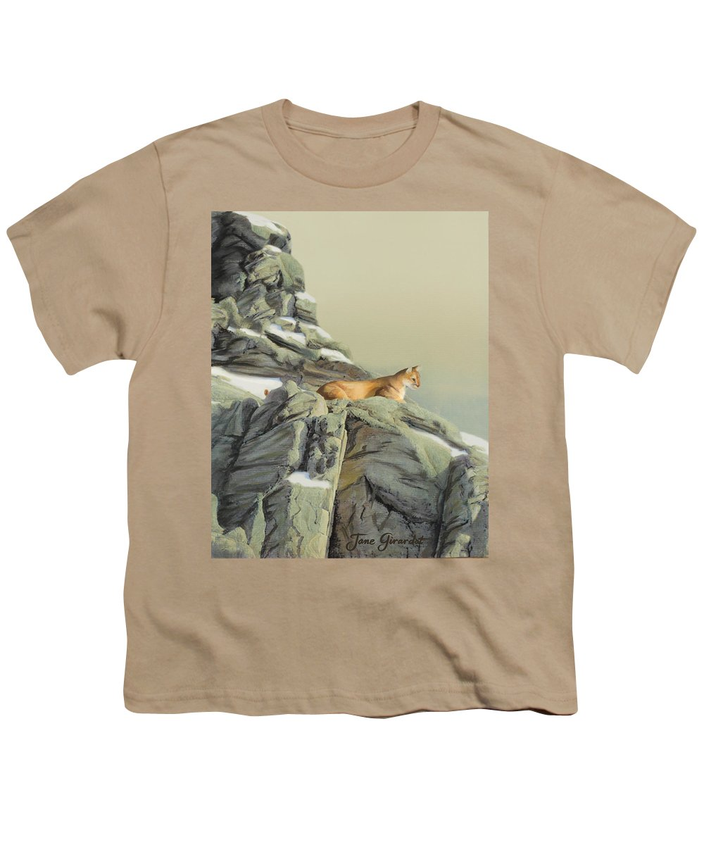Cougar Youth T-Shirt featuring the painting Cougar Perch by Jane Girardot