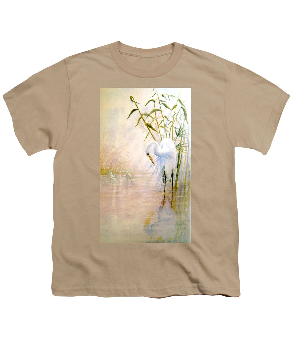 Eret; Bird; Low Country Youth T-Shirt featuring the painting Egret by Ben Kiger