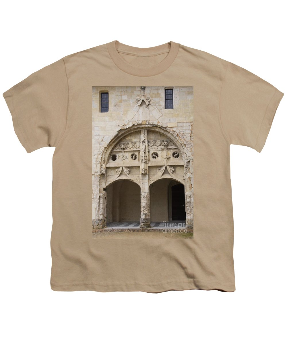 Cloister Youth T-Shirt featuring the photograph Entrance Fontevraud Abbey- France by Christiane Schulze Art And Photography