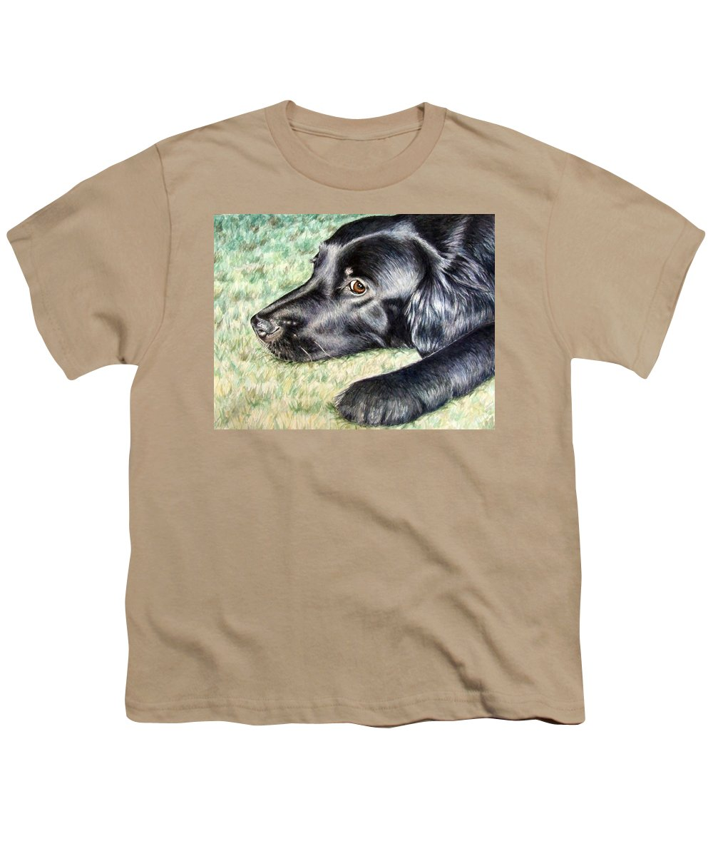 Dog Youth T-Shirt featuring the painting Flat Coated Retriever by Nicole Zeug