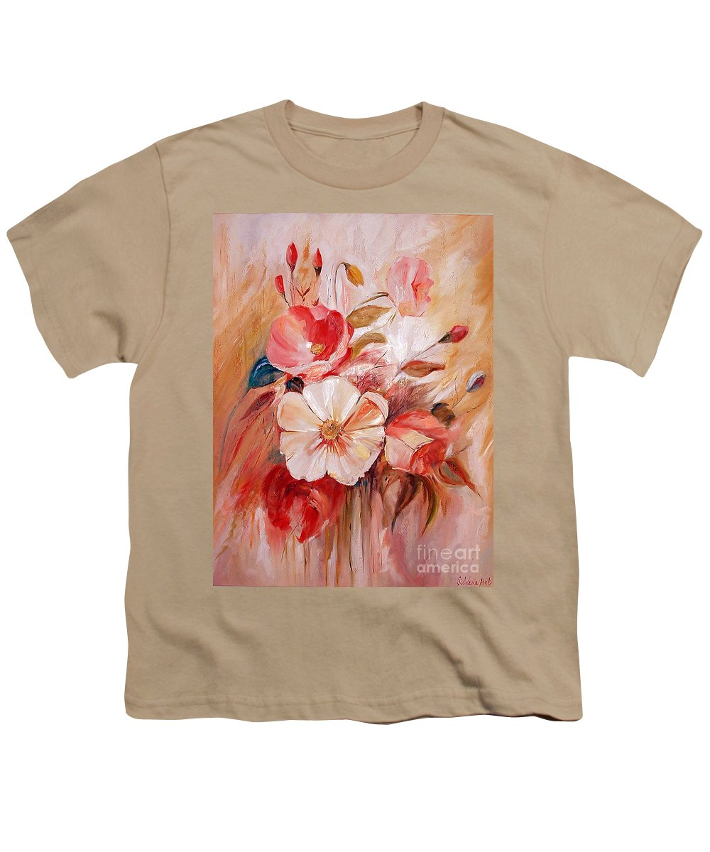 Modern Art Youth T-Shirt featuring the painting Flowers I by Silvana Abel