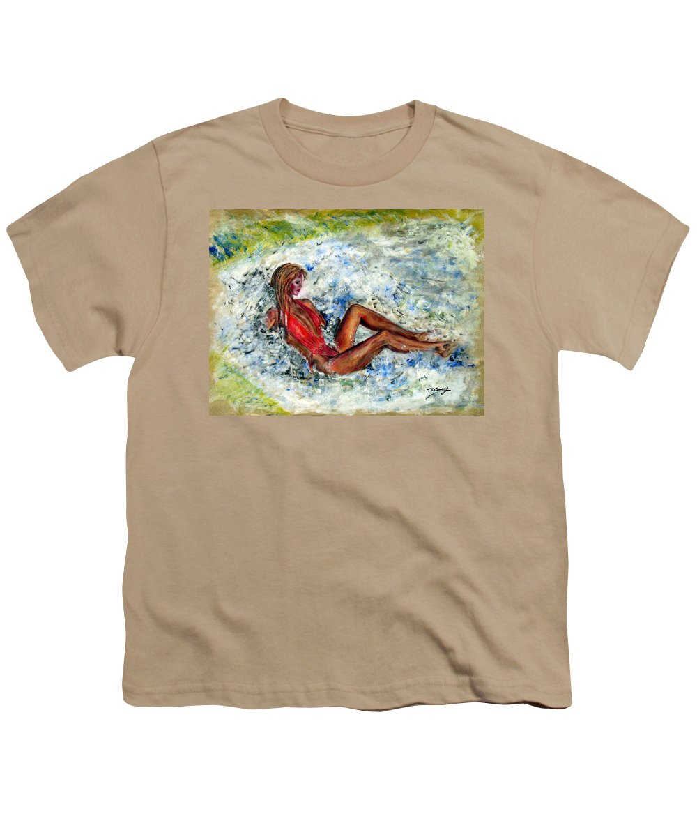 Girl Youth T-Shirt featuring the painting Girl In A Red Swimsuit by Tom Conway