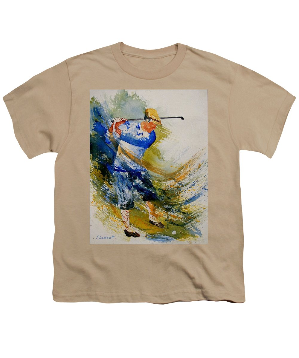 Golf Youth T-Shirt featuring the painting Golf Player by Pol Ledent