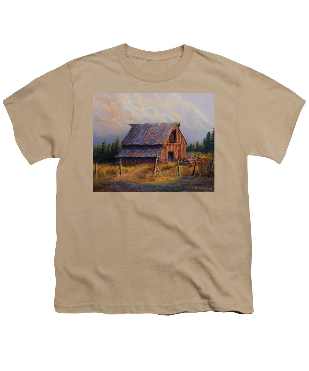 Barn Youth T-Shirt featuring the painting Grandpas Truck by Jerry McElroy