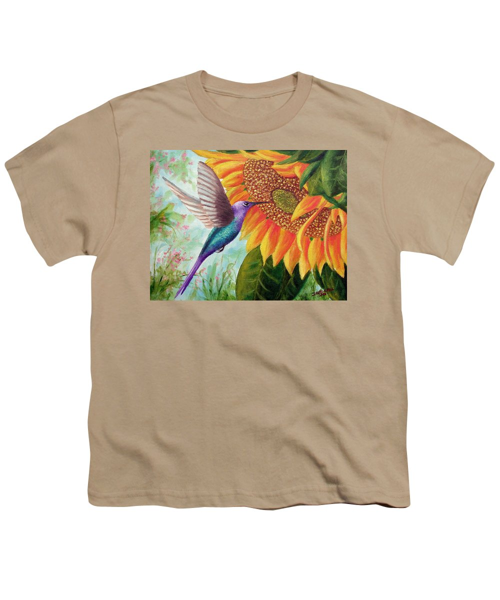 Hummingbird Youth T-Shirt featuring the painting Humming For Nectar by David G Paul