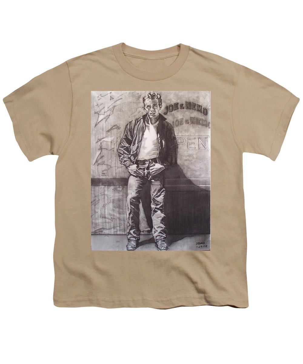 Charcoal; Icon;americana;cool;window;sidewalk;street;rock And Roll;jeans;t-shirt;diner;movie Star Youth T-Shirt featuring the drawing James Dean by Sean Connolly