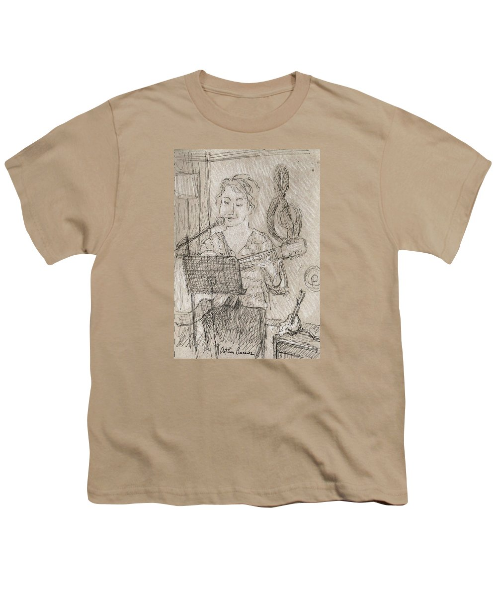 Music Youth T-Shirt featuring the drawing Angelic by Arthur Barnes
