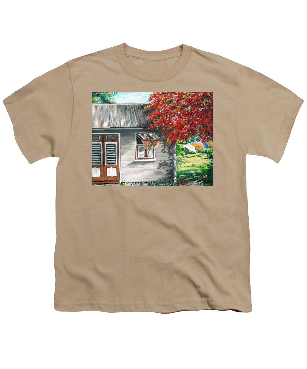 Caribbean Painting Typical Country House In The Caribbean Or West Indian Islands With Flamboyant Tree Tropical Painting Youth T-Shirt featuring the painting Little West Indian House 1 by Karin Dawn Kelshall- Best