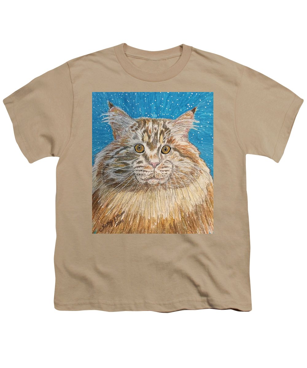 Maine Youth T-Shirt featuring the painting Maine Coon Cat by Kathy Marrs Chandler