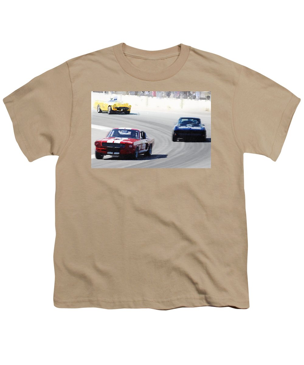 Mustang Youth T-Shirt featuring the painting Mustang and Corvette Racing Watercolor by Naxart Studio